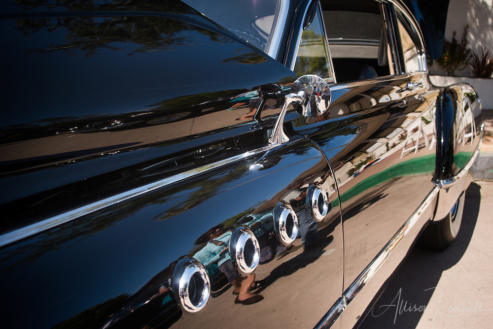 Detail of a 1949 Buick Eight Road Master, seen at the Carmel-by-the-Sea Concours on the Avenue event during Monterey Car Week