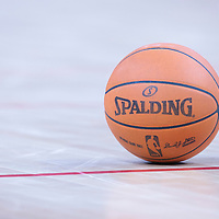 06 October 2010: A ball lays on the court during the Minnesota Timberwolves 106-100 victory over the New York Knicks, during 2010 NBA Europe Live, at the POPB Arena in Paris, France.