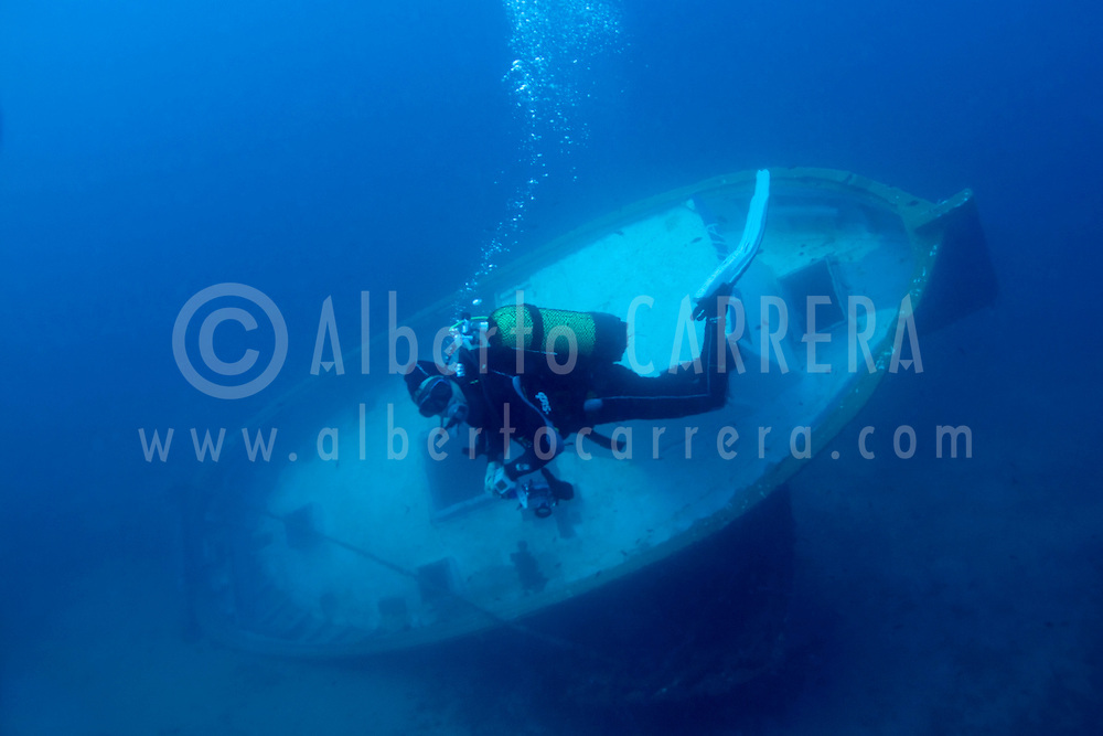 Alberto Carrera, Flotsam, fishing boat with diver, Cabo Cope-Puntas del Calnegre Natural Park, Mediterranean Sea,  Region de Murcia, Murcia, Spain, Europe