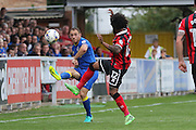 AFC Wimbledon defender & captain Barry Fuller (2) in action during the EFL Sky Bet League 1 match between AFC Wimbledon and Shrewsbury Town at the Cherry Red Records Stadium, Kingston, England on 24 September 2016. Photo by Stuart Butcher.