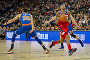 Washington Wizards Bradley Beal (3) and New York Knicks Kevin Knox (20) during the NBA London Game match between Washington Wizards and New York Knicks at the O2 Arena, London, United Kingdom on 17 January 2019.