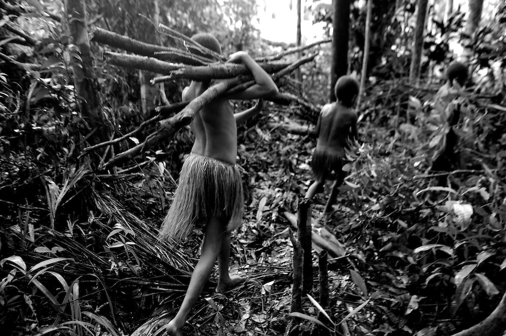 the women and children are all involved in collecting firewood