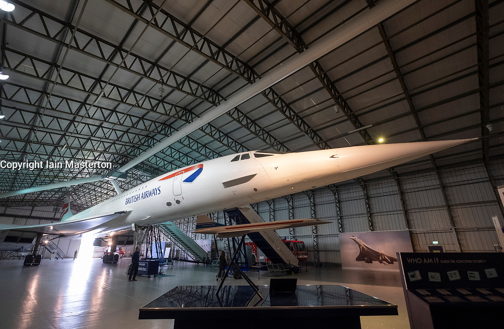 British Airways Concorde on display in hanger at National Museum of Flight at East Fortune Airfield in East Lothian, Scotland, United Kingdom