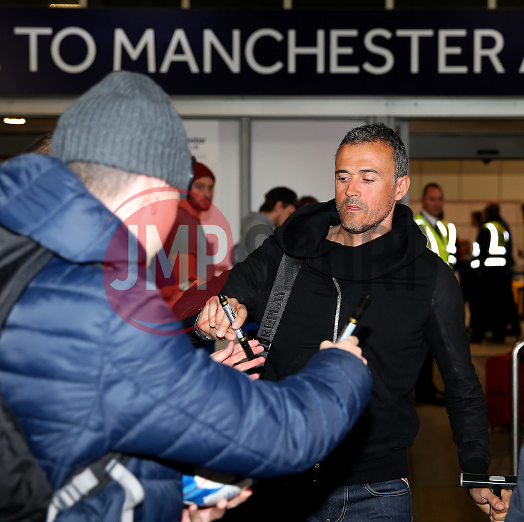 **Caption Correction** Barcelona manager Luis Enrique arrives at Manchester Airport  - Mandatory by-line: Matt McNulty/JMP - 31/10/2016 - FOOTBALL - Manchester Airport - Manchester, England - Manchester City v Barcelona - UEFA Champions League - Group C