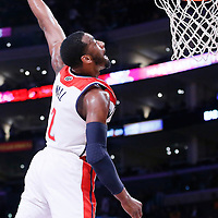 21 March 2014: Washington Wizards guard John Wall (2) goes for the dunk during the Washington Wizards 117-107 victory over the Los Angeles Lakers at the Staples Center, Los Angeles, California, USA.