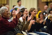 Attendees clap after a performance of Dance Program Company One's CSI-CVU: Crime Scene Investigation Circus Victims Unitduring Humanities & Arts Day Student Showcase at San Jose State University's Student Union Barrett Ballroom in San Jose, California, on October 25, 2013. (Stan Olszewski/SOSKIphoto)