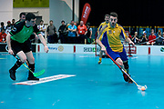 Graz, Austria - 2017 March 23: Floor Ball Match between SO Ireland (green) and SO Sweden (yellow) while Special Olympics World Winter Games Austria 2017 at Convention Centre Messe Graz on March 23, 2017 in Graz, Austria.<br /> <br /> Mandatory credit:<br /> Photo by &copy; Adam Nurkiewicz / Mediasport<br /> <br /> Adam Nurkiewicz declares that he has no rights to the image of people at the photographs of his authorship.<br /> <br /> Picture also available in RAW (NEF) or TIFF format on special request.<br /> <br /> Any editorial, commercial or promotional use requires written permission from the author of image.<br /> <br /> Image can be used in the press when the method of use and the signature does not hurt people on the picture.