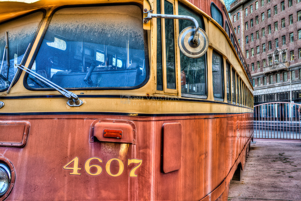 Historic city bus in downtown Phoenix, AZ
