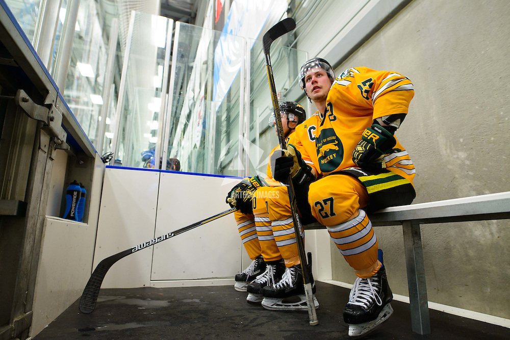 4th year forward Cody Fowlie (27) and 2nd year forward JJ Coleshaw (10) of the Regina Cougars in the penalty box during the Shine On game on October 28 at The Co-Operators Arena. Credit: /Arthur Images