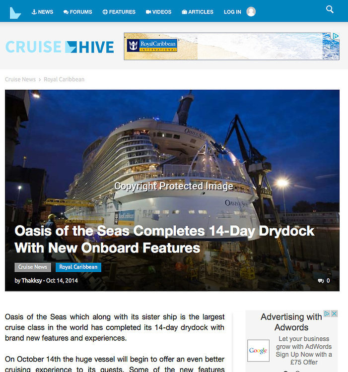 Royal Caribbean International's Oasis of the Seas Southampton visit cuttings.<br /> Cruise Hive 161014 website. (In drydock, Rotterdam)