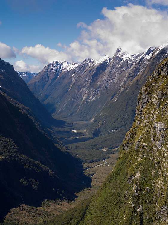 View down the Clinton River Valley from MacKinnon Pass, along the Milford Track, Fiordland National Park, New Zealand; Pomplona Hut can be seen in the valley.