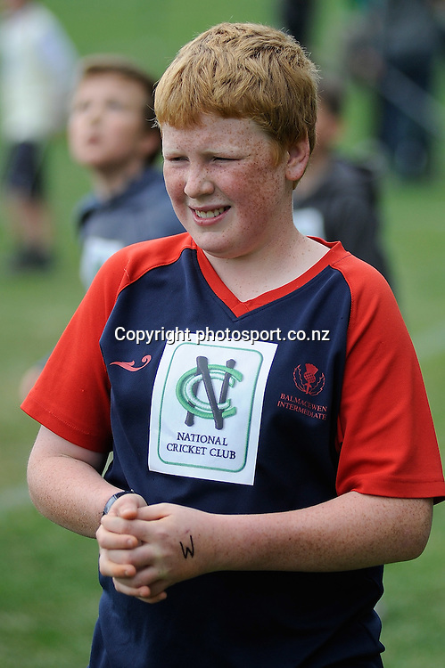 Cricket Fan Josh Hastey at the National Bank's Cricket Super Camp , University oval, Dunedin, New Zealand. Thursday 2 February 2012 . Photo: Richard Hood photosport.co.nz