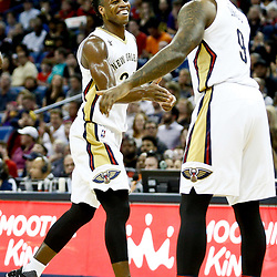 Dec 28, 2016; New Orleans, LA, USA;  New Orleans Pelicans guard Buddy Hield (24) celebrates after a basket with forward Terrence Jones (9) during the first quarter of a game against the Los Angeles Clippers at the Smoothie King Center. Mandatory Credit: Derick E. Hingle-USA TODAY Sports