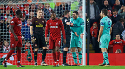 LIVERPOOL, ENGLAND - Saturday, December 29, 2018: Arsenal's Sead Kolašinac argues with referee Michael Oliver after he awarded Liverpool a penalty during the FA Premier League match between Liverpool FC and Arsenal FC at Anfield. (Pic by David Rawcliffe/Propaganda)