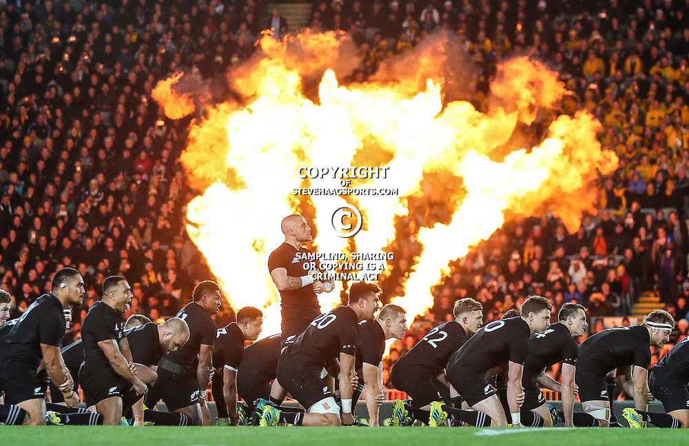 TJ Perenara leads the haka during the Bledisloe Cup and Rugby Championship rugby match between the New Zealand All Blacks and Australia Wallabies at Eden Park in Auckland, New Zealand on Saturday, 25 August 2018. Photo: Simon Watts / lintottphoto.co.nz