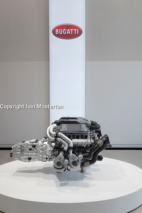 Display of Bugatti engine at Volkswagen showroom on Under den Linden in Berlin, Germany