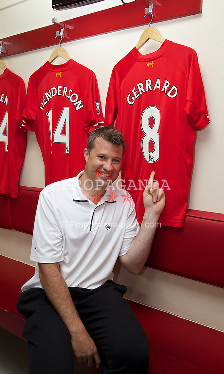 LIVERPOOL, ENGLAND - Saturday, June 21, 2014: Wimbledon champion Barry Cowan with the shirt of Steven Gerrard on a visit to Anfield during Day Three of the Liverpool Hope University International Tennis Tournament. (Pic by David Rawcliffe/Propaganda)