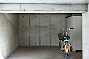empty garage with parked bicycle