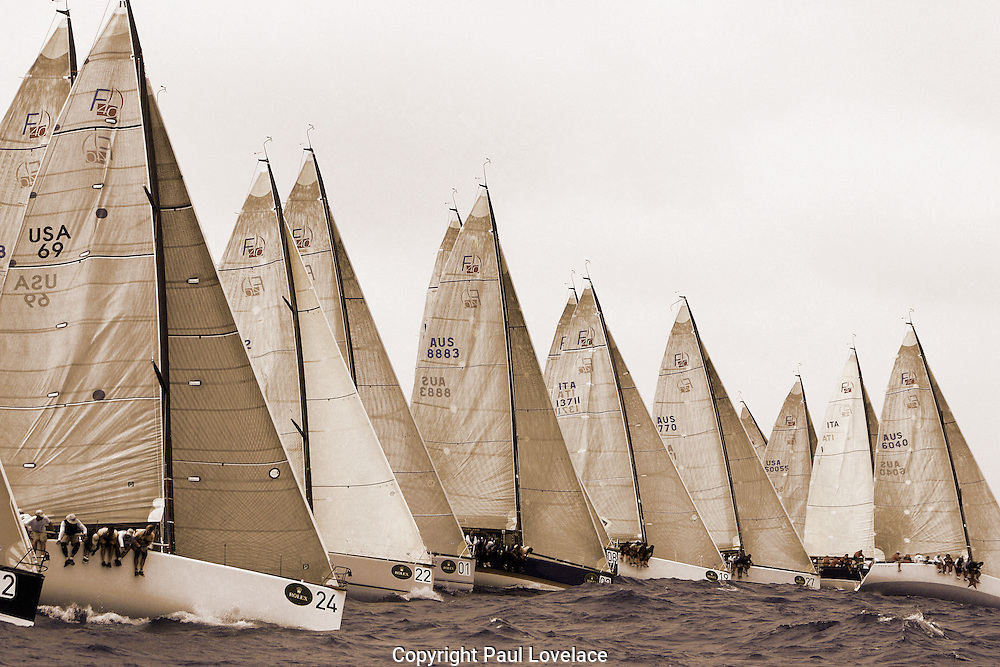 Prince Frederick of Denmark practices in the Rolex pre-world Farr 40 Championships on his Yacht Wanoq, Sydney Australia.<br /> An instant sale option is available where a price can be agreed on image useage size.