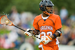 Virginia midfielder Will Barrow (23) readies a shot against Duke.  The #2 ranked Duke Blue Devils defeated the #3 ranked Virginia Cavaliers 11-9 in the finals of the Men's 2008 Atlantic Coast Conference tournament at the University of Virginia's Klockner Stadium in Charlottesville, VA on April 27, 2008.