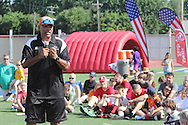 Former Cincinnati Bengal Anthony Munoz speaks during the All Pro Dad Father & Kids NFL Experience at Welcome Stadium, Saturday, June 18, 2016.