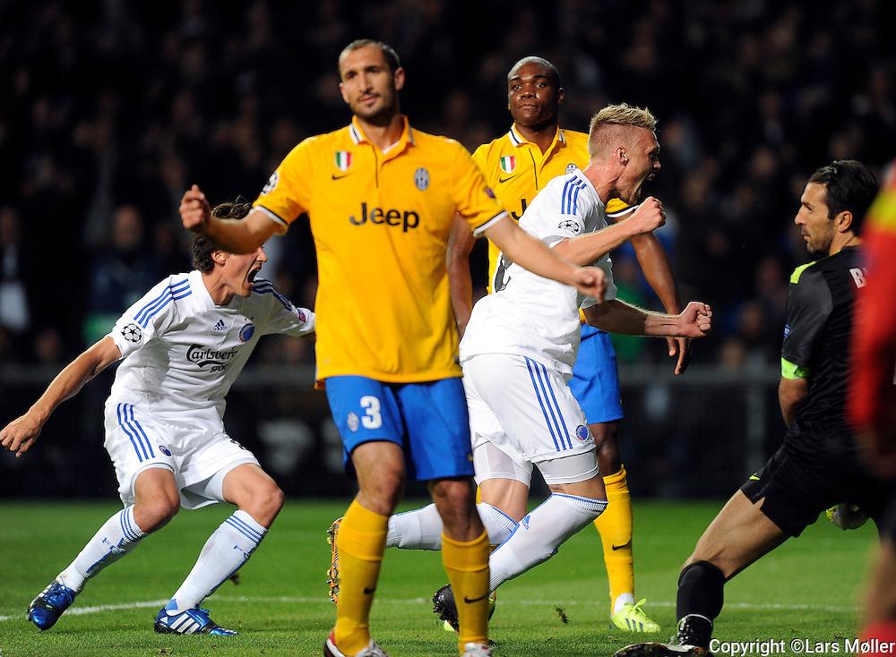 DK Caption:<br /> 20130917, K&oslash;benhavn, Danmark:<br /> Fodbold, UEFA Champions League, FC K&oslash;benhavn - Juventus:   Nicolai J&oslash;rgensen, FCK FC K&oslash;benhavn/FC Copenhagen scorer til 1-0<br /> Foto: Lars M&oslash;ller<br /> UK Caption:<br /> 20130917, Copenhagen, Denmark:<br /> Football UEFA Champions League, FC Copenhagen - Juventus:   Nicolai J&oslash;rgensen, FCK FC K&oslash;benhavn/FC Copenhagen scores to 1-0<br /> Photo: Lars Moeller