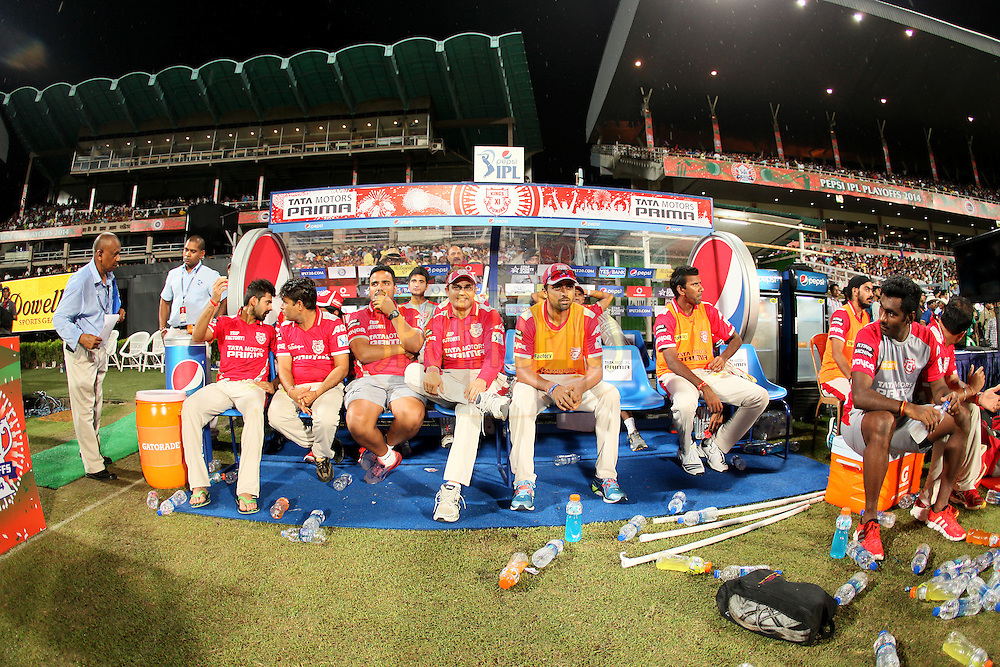 KXIP dugout during the first qualifier match (QF1) of the Pepsi Indian Premier League Season 2014 between the Kings XI Punjab and the Kolkata Knight Riders held at the Eden Gardens Cricket Stadium, Kolkata, India on the 28th May  2014<br /> <br /> Photo by Saikat Das / IPL / SPORTZPICS<br /> <br /> <br /> <br /> Image use subject to terms and conditions which can be found here:  http://sportzpics.photoshelter.com/gallery/Pepsi-IPL-Image-terms-and-conditions/G00004VW1IVJ.gB0/C0000TScjhBM6ikg