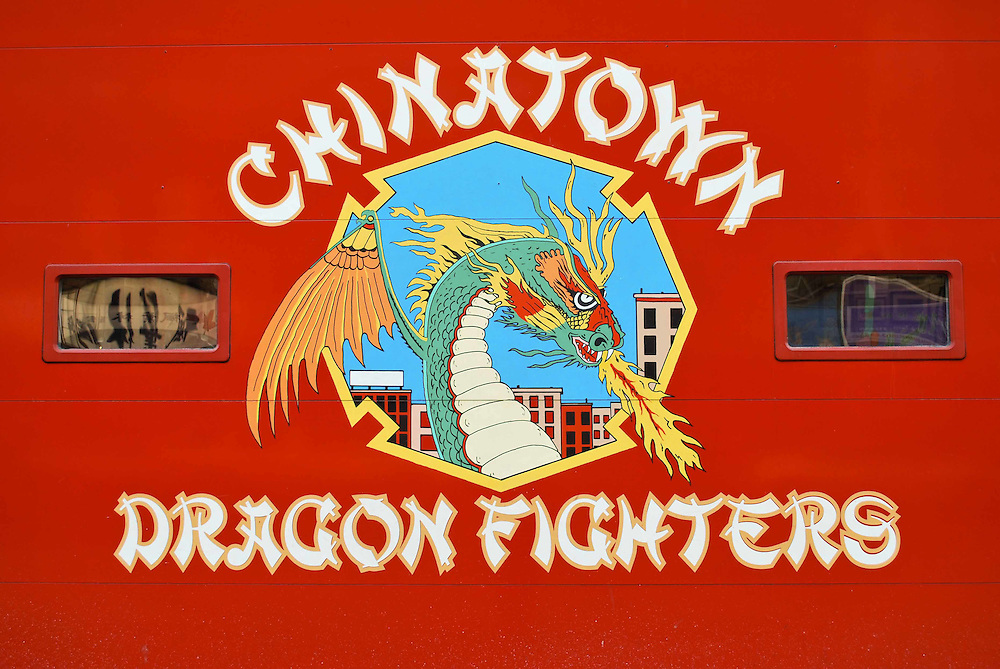 Fire house door of the Chinatown Dragon Fighters, Chinatown, New York