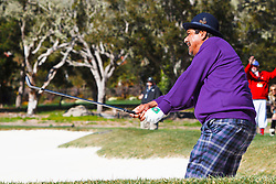 Feb 8, 2012; Pebble Beach CA, USA; Television actor George Lopez hits a shot from a sand trap on the second hole during the celebrity challenge of the AT&T Pebble Beach Pro-Am at Pebble Beach Golf Links. Mandatory Credit: Jason O. Watson-US PRESSWIRE