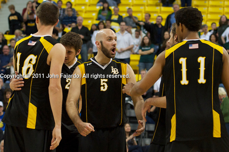 The 49ers celebrate the point in the Mountain Pacific Sports Federation match against Hawaii at the Walter Pyramid, Long Beach, Calif., Saturday, March 19, 2011.