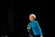 Brooklyn, NY - 7 January 2020. Massachusetts Senator and Democratic Presidential candidate Elizabeth Warren, joined by former candidate Julián Castro, drew a large and enthusiastic crowd at a speech for her 2020 presidential campaign in Brooklyn's Kings Theatre. Warren spoke of her background, and laid out policy positions on education, consumer protection, support for people with disabilities, breaking up monopolies, and taxing the ultra-wealthy.