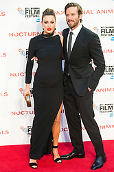 © Licensed to London News Pictures. 14/10/2016. Pregnant ELIZABETH CHAMBERS and husband ARMIE HAMMER attend the Nocturnal Animals film premiere of as part of the London Film Festival. London, UK. Photo credit: Ray Tang/LNP