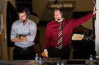 KELOWNA, CANADA - MARCH 11: Regan Bartel, play by play and Kent Simpson, colour analyst stand in the AM 1150 broadcast booth at the Kelowna Rockets against the Kamloops Blazers on March 11, 2016 at Prospera Place in Kelowna, British Columbia, Canada.  (Photo by Marissa Baecker/Shoot the Breeze)  *** Local Caption *** Kent Simpson; Regan Bartel;