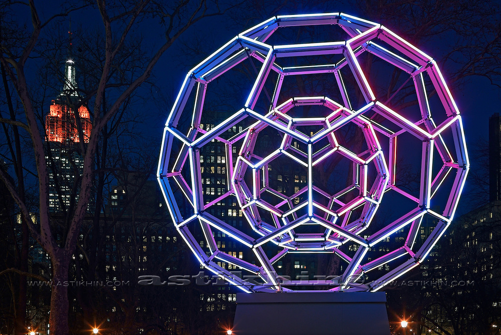Illuminated sculpture in Manhattan.