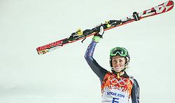 21.02.2014, Rosa Khutor Alpine Center, Krasnaya Polyana, RUS, Sochi, 2014, Slalom, Damen, 2. Durchgang, im Bild Olympiasiegerin Mikaela Shiffrin (USA) // olympic Champion Mikaela Shiffrin of the USA during the 2nd run of ladies Slalom to the Olympic Winter Games Sochi 2014 at the Rosa Khutor Alpine Resort, Krasnaya Polyana, Russia on 2014/02/21. EXPA Pictures © 2014, PhotoCredit: EXPA/ Sammy Minkoff<br /> <br /> *****ATTENTION - OUT of GER*****