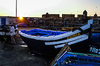Fishing boat. Essaouira is a city on the Moroccan Atlantic coast. Fortress walls originally enclosed the entire city.