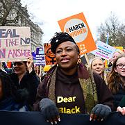 Shola Mos-Shogbamimu join March4Women 2020, on 8 March 2020, London, UK.