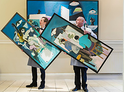 A selection of works from the Studio of the much-loved Scottish painter and teacher Alberto Morrocco will be included in the sale at Bonhams, 22 Queen Street, Edinburgh on Wednesday 29 November 2017 at 2pm<br /> <br /> Pictured: Life Class (A Triptych) by Alberto Morrocco with Tommy Alexander and Danny Mcilwraith from Bonhams