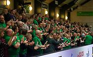 HÅNDBOLD: Fans fra TMS Ringsted før kampen i Herre Håndbold Ligaen mellem TMS Ringsted og Nordsjælland Håndbold den 25. februar 2019 i Ringsted Sportscenter. Foto: Claus Birch.