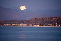 Moonset over Mulege in Baja California Sur, Mexico.
