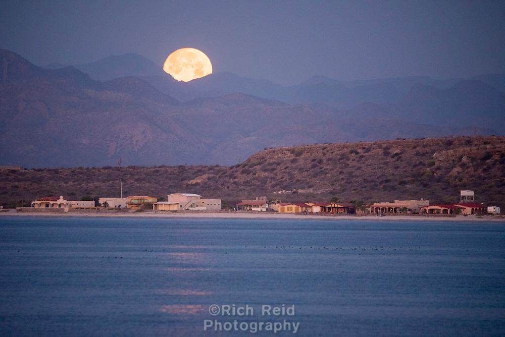Moonset over Mulege in Baja California Sur, Mexico.