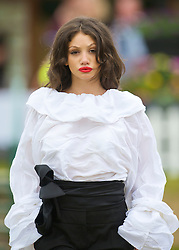 LIVERPOOL, ENGLAND - Saturday, June 20, 2009: Claudia Pitter of John Alexander Model Agency wearing the new Summer/Autumn collection from AllMac Designs during a fashion show on Day Four of the Tradition ICAP Liverpool International Tennis Tournament 2009 at Calderstones Park. (Pic by David Rawcliffe/Propaganda)