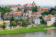MEISSEN, GERMANY - MAY 22, 2010: View to the historical buildings along the banks of the Elbe river in Meissen, Germany.