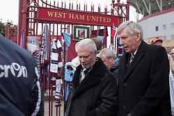 © Licensed to London News Pictures. 24_02_2013..Bobby Moore Wreath laying..West Ham Utd Chairman David Gold with former West Ham utd and England Player Martin Peters..20 years since Bobby Moore England and West Ham Utd Captain died of cancer at the age of 51.. Photo credit : Andrew Baker/LNP