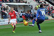 Chris Burke of Rotherham United crosses ball past Jacques Maghoma of Birmingham city  during the Sky Bet Championship match between Rotherham United and Birmingham City at the New York Stadium, Rotherham, England on 13 February 2016. Photo by Ian Lyall.