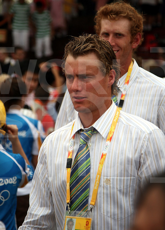 Australias Lleyton Hewett during the Athletes dress rehearsal  of the opening ceremony. The Beijing Olympics 2008, 7-8-08..  ..Photo: Grant Treeby/WSP
