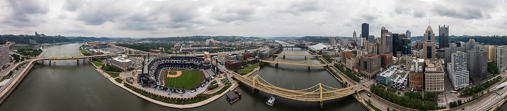 Downtown Pittsburgh from the Allegheny River. Aerial panorama.
