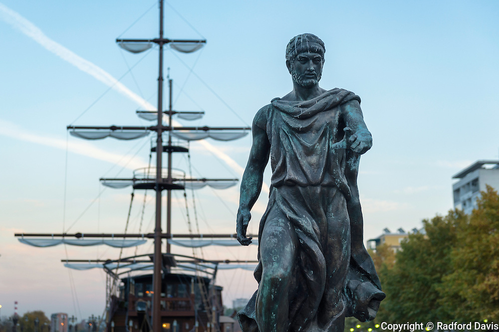 Statue and mast of a boat in Skopje, Macedonia