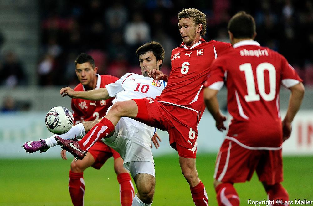 DK Caption:<br /> 20110622, Herning, Danmark.<br /> Fodbold UEFA U21 Euroropamesterskab, semifinale:<br /> Schweiz - Tjekkiet:  <br /> Foto: Lars M&oslash;ller<br /> <br /> UK Caption:<br /> 20110625, Aarhus, Denmark.<br /> Football UEFA U21 European Championship, semifinal:<br /> Schweiz - Czeck Republic:<br /> Photo: Lars Moeller