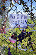 """Purple Rain"" poster on Prince memorial fence. Paisley Park Studios Chanhassen Minnesota MN USA"
